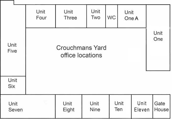 Plan of office and studio locations at CrouchmansYard